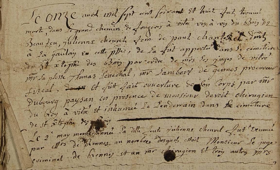 Exhumation de Jeanne CHEVREL - Saint-Christophe-des-Bois (35)