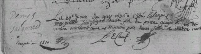 Baptême de Denys GAIGNARD, 1636, Luché (Maine angevin)