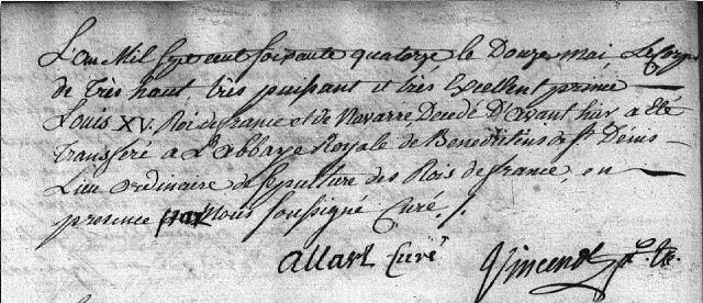 Transfert du corps de Louis XV à l'Abbaye de Saint-Denis
