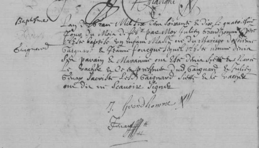 Acte de baptême de Denis GAIGNARD - 1670, Luché