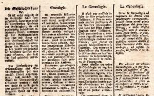 Définition de la Généalogie - XVIIIe siècle