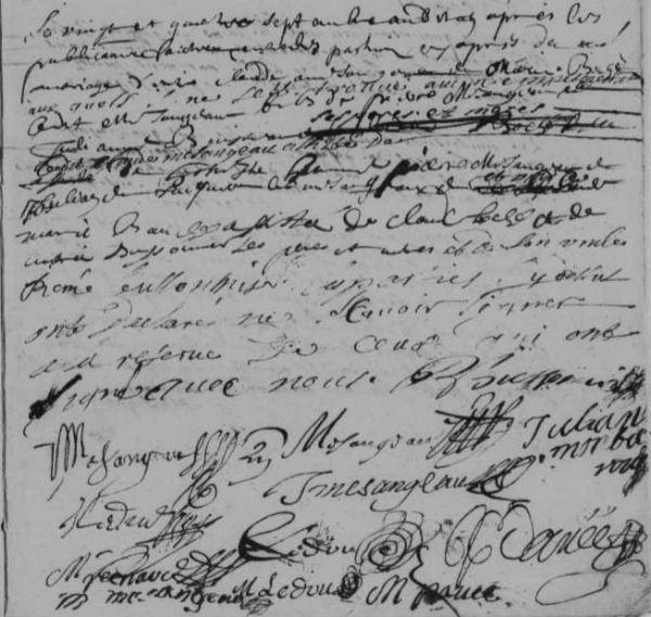 AM MÉSANGEAU Claude BOCHÉ Marie, 1691, Beillé | © AD 72