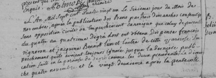 1781 - Mariage avec dispense de consanguinité, Degré (72) | © AD-72