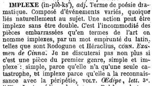 """Définition d' """"implexe"""" - Littré 1873"""