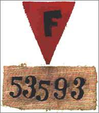 Insignes des prisonniers du KL de Buchenwald - matricule de Pierre MALLEZ