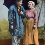 Carte Postale Costumes sarthois n° 12 - Père Quéru et Maîtresse Chantepie | © collection Yvon