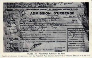 Paul DOUMER, certificat d'admission à l'hôpital Beaujon | Delcampe