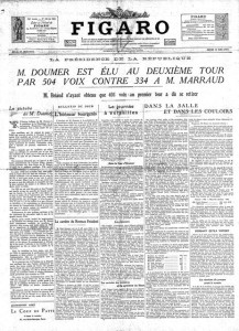 Le Figaro du 14 mai 1931 - Élection de Paul DOUMER