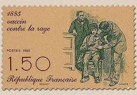 Timbre français - Centenaire du vaccin contre la rage