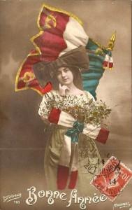 CPA Bonne Année, Alsacienne et drapeau français