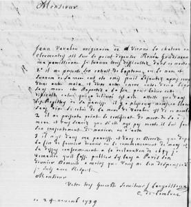 Lettre du curé LANGOISSEUX de Lombron (Sarthe) du 24 novembre 1739 - BMS 1740-1759 - 1 Mi 1094 R3 - vue 31