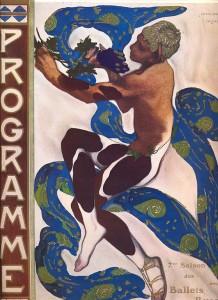 Vasla Nijinsky dans L'après-midi d'un faune, affiche de Léon Bakst, 1912