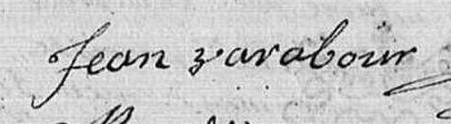 Signature de Jean VARABOUR, juin 1740, registres de Lombron (Sarthe)