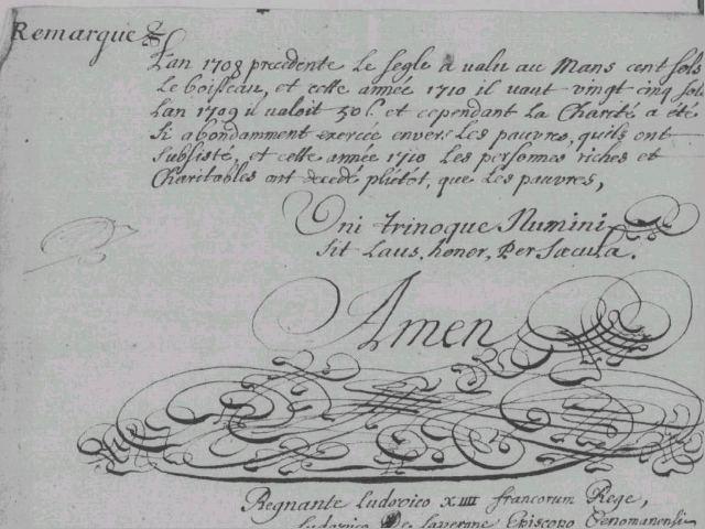 Remarque du curé de La Quinte (Sarthe), 1710
