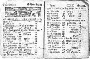 Suède - calendrier de février 1712