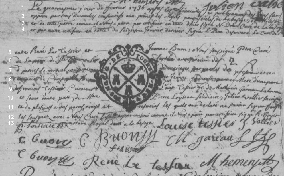 AM LETESSIER René BUON Jeanne 1736 Ste Jamme sur Sarthe 72