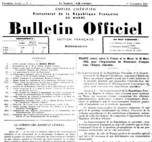 Bulletin Officiel du Protectorat de la République française au MAROC, n° 1, novembre 1912