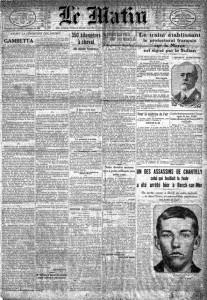 Une du journal Le Matin du 31 mars 1912