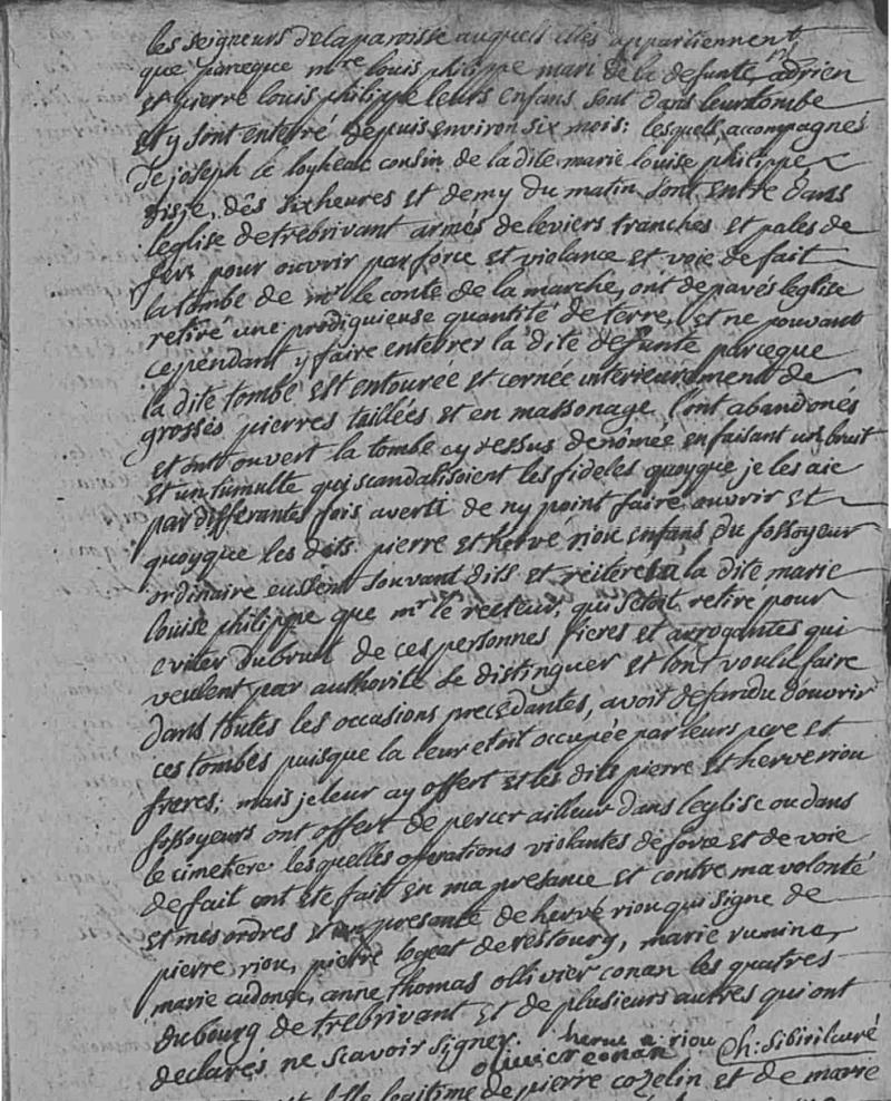 Trébrivan (22) - inhumation de Marie Louise BRIANT, 1743 - BMS 1700-1752 vue 305