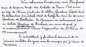 """""""profession de foi"""" de Jean FRANÇAIX à 12 ans"""