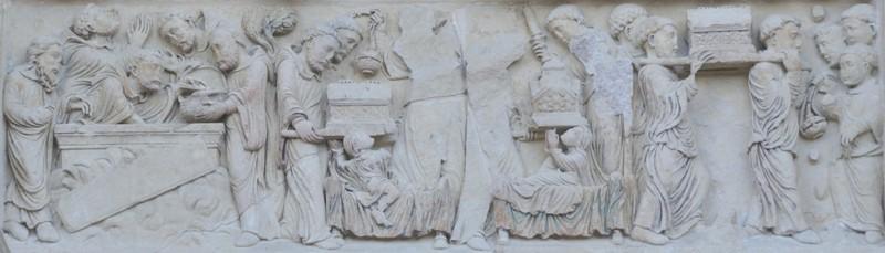 Translation des reliques de Saint-Benoît (portail nord de l'abbaye de Saint-Benoît-sur-Loire, Loiret)