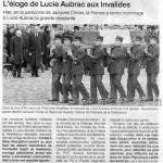 Sépulture de Lucie AUBRAC | Ouest-France, 22 mars 2007