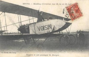 CPA - Bourg (Ain) - Meeting'd'Aviation des 13, 14 et 15 Juillet 1912 - Rugère et son passager M. Morgon