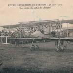 CPA - Vernon (Eure) - Fêtes d'Aviation de Vernon - 25 Août 1912 - Une sortie du biplan de Champel
