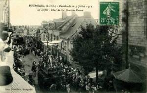 CPA - Bourgueil (Indre-et-Loire) - Cavalcade du 7 Juillet 1912 - Le Défilé - Char de la Comtesse Emma
