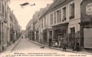 CPA - Sées (Orne) - Fêtes d'aviation du 4 et 5 août 1912 - avec le concours de MM CHAPRON Aviateur Organisateur, HANOUILLE et GAZZIOLI Pilotes