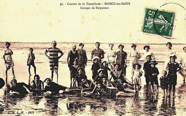 CPA - Canton de la Tremblade - Ronce-les-Bains - Groupe de Baigneurs - 1912 | memoires-vivantes-ronce.over-blog.com