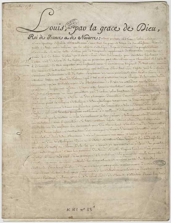Édit de Versailles, dit de tolérance, Louis XVI, 1787