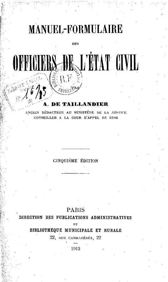 Manuel-formulaire des officiers de l'état civil - Antonin Taillandier (de)