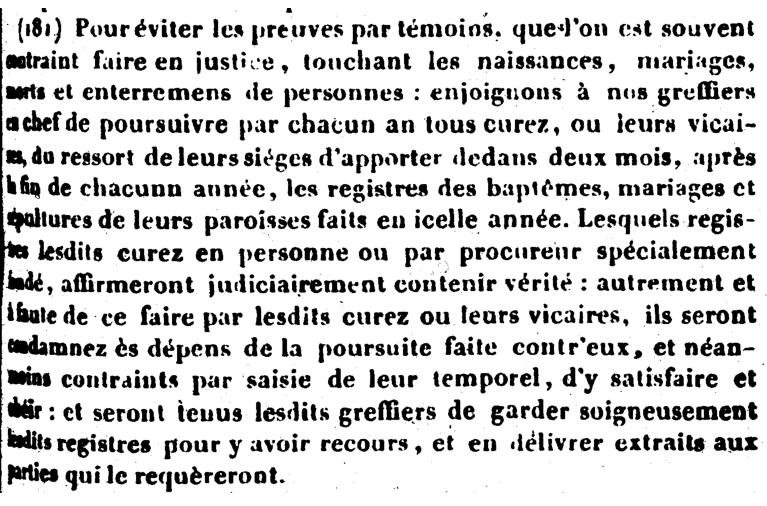 Ordonnance de Blois, Henri III, 1579 - article 181