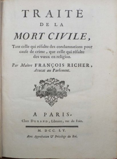 Traité de la mort civile par Francois Richer, 1755