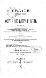 Traité théorique et pratique des actes de l'état civil par Émile Mersier, 1872