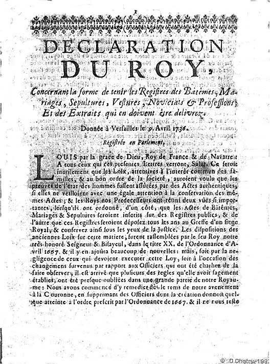 Déclaration du roi Louis XV, 9 avril 1736