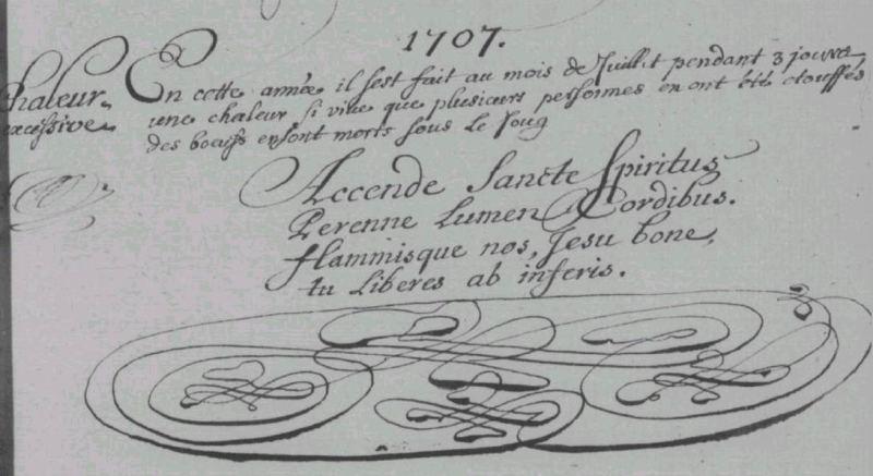 1707 - La Quinte (Sarthe) - Registre BMS