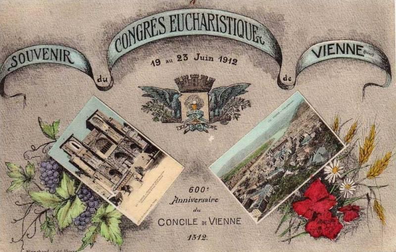 Carte Postale Ancienne - Vienne (Isère) - Souvenir du Congrès Eucharistique - 19-23 juin 1912