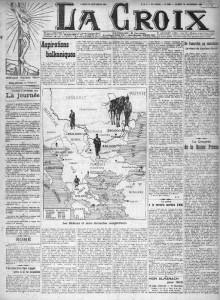 La Croix, une du 28 septembre 1912 | Gallica © BnF