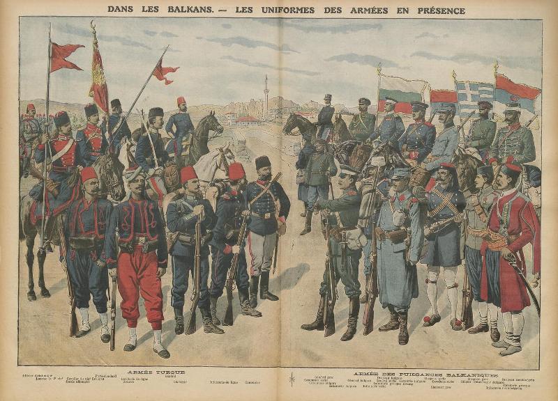 Le Petit Journal, supplément illustré du dimanche, 20 octobre 1912 - Dans les Balkans - Les uniformes des armées en présence