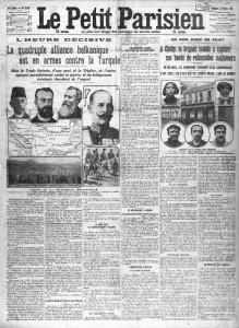 Le Petit Parisien, une du 2 octobre 1912