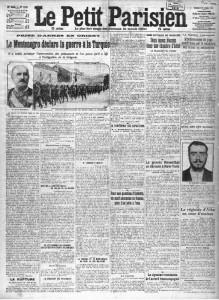 Le Petit Parisien, une du 9 octobre 1912