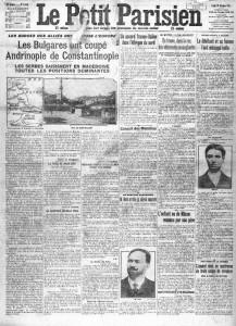 Le Petit Parisien, une du 29 octobre 1912