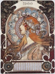 calendrier 1900, illustration de Mucha