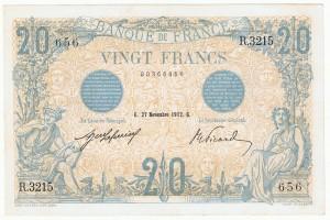 billet de 20 francs de novembre 1912