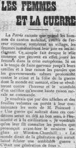 L'Humanite du 1er décembre 1912 - une - Les femmes et la guerre, par Jean Jaurès - extrait