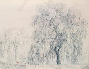 Paysage avec saules pleureurs, à Louveciennes par Charles Ransonnette, 1818