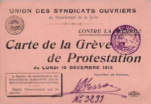 Carte de la Grève de Protestation, 16 décembre 1912