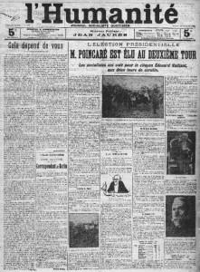 L'Humanité du 18 janvier 1913 - une : Raymond POINCARÉ élu président